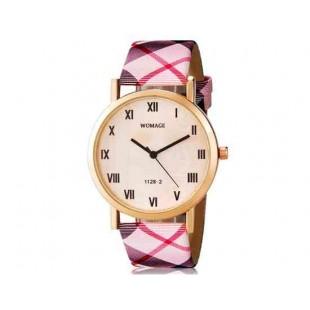WOMAGE 1128-2 женщин`s Модный круглый Циферблат аналоговые наручные часы с римскими цифрами, PU Группа