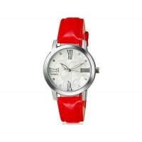 WOMAGE 1142 женщины`s Модный хрусталь оформлен круглый Циферблат аналоговые наручные часы с PU Band (Красный)