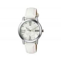WOMAGE 1142 женщины`s Модный хрусталь оформлен круглый Циферблат аналоговые наручные часы с PU Band (Белый)