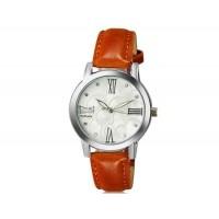 WOMAGE 1142 женщины`s Модный хрусталь оформлен круглый Циферблат аналоговые наручные часы с PU Группа (коричневый)