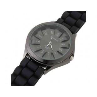 WoMaGe Хризантема Shaped женщин наручные часы с текстурированной Блочный силиконовой лентой (черный)