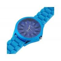 WoMaGe хризантема образный Женские наручные часы с текстурированной Блочный силиконовой лентой (синий)