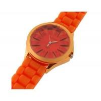 WoMaGe хризантема образный Женские наручные часы с текстурированной Блочный силиконовой лентой (оранжевый)