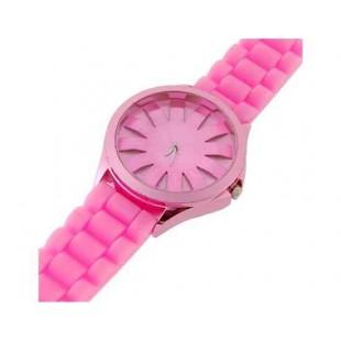 WoMaGe хризантема образный Женские наручные часы с текстурированной Блочный силиконовой лентой (розовый)