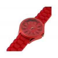 WoMaGe хризантема образный Женские наручные часы с текстурированной Блочный силиконовой лентой (красный)