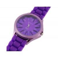 WoMaGe Хризантема Shaped женщин наручные часы с текстурированной Блочный силиконовой лентой (фиолетовый)