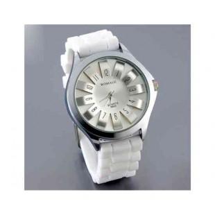 WoMaGe хризантема образный Женские наручные часы с текстурированной Блочный силиконовой лентой (белый)
