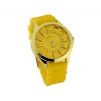 WoMaGe хризантема образный Женские наручные часы с текстурированной Блочный силиконовой лентой (желтый)