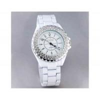 SINOBI 1850 часы из нержавеющей стали с алмазными вставками (белый)