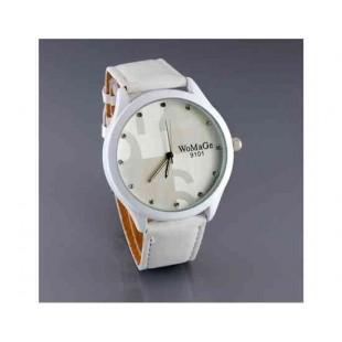 WoMaGe 9101 женщин из нержавеющей стали набора Кожаный ремешок Мода Watch (белый)