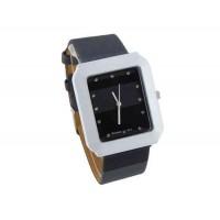 WoMaGe 9614 женщин из нержавеющей стали набора Кожаный ремешок часы с бриллиантами (черный)