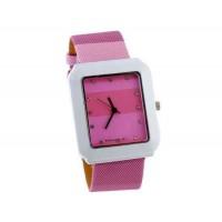 WoMaGe 9614 женщин из нержавеющей стали набора Кожаный ремешок часы с бриллиантами (розовый)