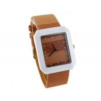 WoMaGe 9614 женщин из нержавеющей стали набора Кожаный ремешок часы с бриллиантами (коричневый)
