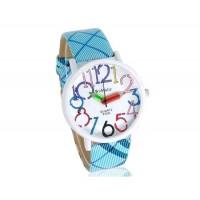 WoMaGe 9329 Карандаш рук женские Круглый Дело кожаный ремешок часы (синий)