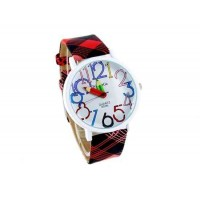 WoMaGe 9329 Карандаш рук женские Круглый Дело кожаный ремешок Часы (красный)