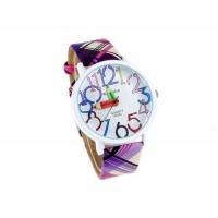 WoMaGe 9329 Карандаш рук женские Круглый кожаный чехол ремешок (фиолетовый)