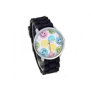 WoMaGe 8835-5 усмешки Женская Круглый Дело силиконовый ремешок часы (черный)