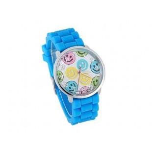 WoMaGe 8835-5 улыбкой лицо Женская Круглый Дело силиконовый ремешок часы (синий)