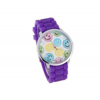 WoMaGe 8835-5 усмешки Женская Круглый Дело силиконовый ремешок часы (фиолетовый)