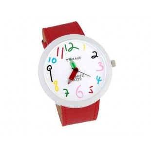 WOMAGE Number Dial карандашом Женские руки аналоговые часы (красный)