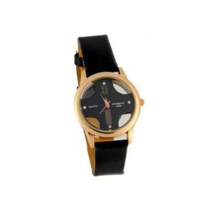Womage Женская Аналоговые часы с PU Кожаный ремешок (черный)