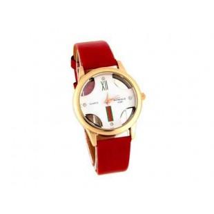 Womage Женская Аналоговые часы с PU Кожаный ремешок (красный)