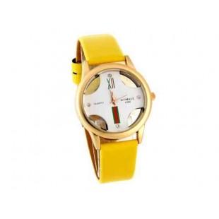 Womage Женская Аналоговые часы с PU Кожаный ремешок (желтый)