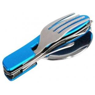 Складной нож, ложка и вилка Set (синий)
