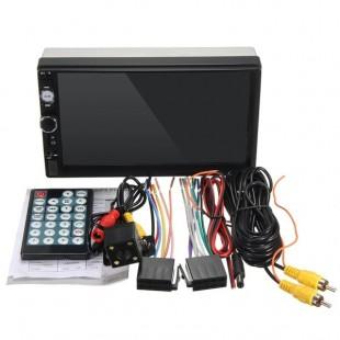 7 дюймов Автомобильный  радио mp5 mp3-плеер FM USB AUX Full HD Bluetooth с сенсорным экраном и камерой заднего вида