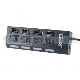 Four Interfaces USB 2.0 Hub with Switch (Black)