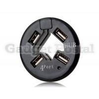 4-портовый 1,5 / 12/488 Мбит Круглый Mini USB 2.0 хаб (черный)