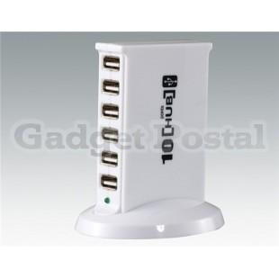 480 Мбит 10-портовый USB 2.0 хаб (белый)