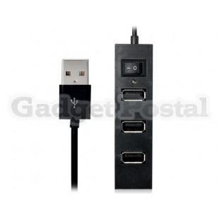 4-портовый USB 2.0 концентратор с выключателем и индикатором СИД (черный)