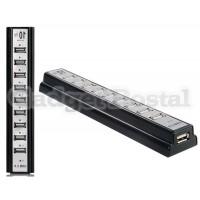 Высокоскоростной 480Mbps 10-портовый USB 2.0 хаб (черный)