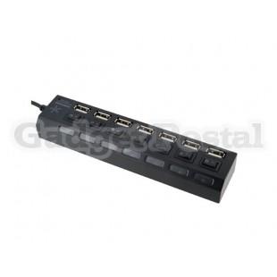 Высокоскоростной 7-портовый USB 2.0 концентратор BH-18A с переключателем для ПК / ноутбука (черный)