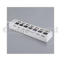 Высокоскоростной 7-портовый USB 2.0 концентратор BH-18A с переключателем для ПК / ноутбука (белый)