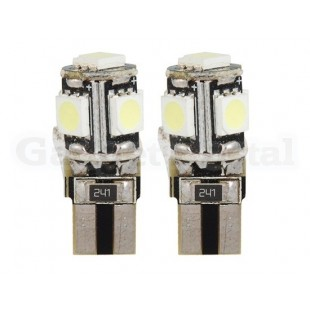 T10 5 х LED светодиодные 2шт / комплект (серебро)