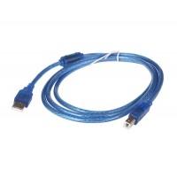 1,5 м Кабель для принтера USB 2.0 (прозрачный синий)