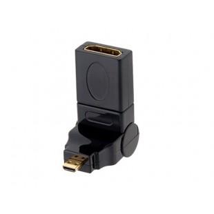 Вращающийся на 360 градусов HDMI стандартный женский к микро-вилка (черный)