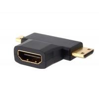 HDMI F / MINI М + М MICRO позолоченный адаптер (черный)