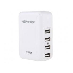 5V 2A 10W зарядное многофункциональное  устройство  с четырьмя Интерфейсами USB 2.0 (белый)