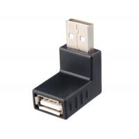 Угловой переходник (адаптер) USB 2.0 A-папа-мама (черный)