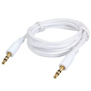1 м Тканые разъем 3,5 мм, между мужчинами наушников удлинитель аудио кабеля (белый)