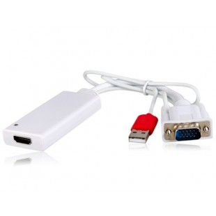 AY55 VGA для HDMI конвертер Кабель-адаптер (белый)