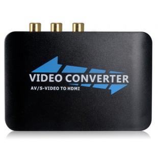 AY56 Composite + S-Video + R / L аудио в HDMI HD Video Converter (черный + синий)