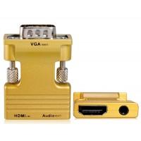 HDMI для Женский мужчина VGA и усилителя; Аудио HD конвертер адаптер (Золотой)