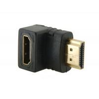 HDMI 19 pins папа - мама  M / F адаптер угловой  (черный)