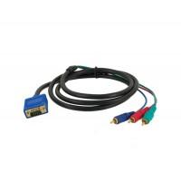 1.5м VGA на 3RCA Расширение видео кабель для компьютеров (черный)
