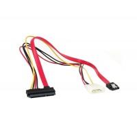 4 Большой Pin +7 Мини контактный разъем питания / данных к 15-контактный IDE питания SATA дата кабель (красный)