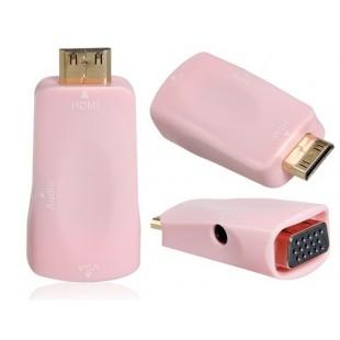Mini HDMI мужчина к VGA Женский адаптер с 3,5 мм аудио разъем (розовый)